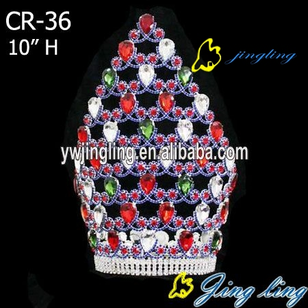 colored rhinestone tiara full round large pageant crown