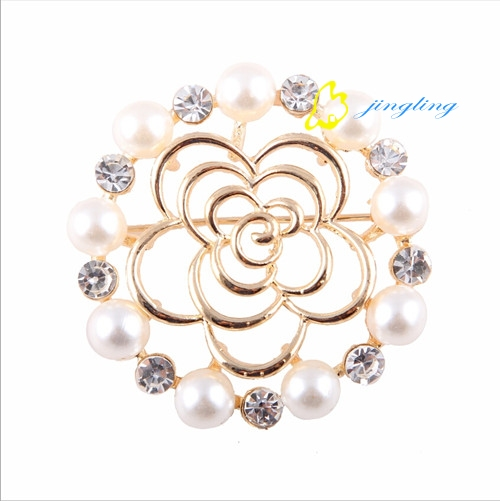 brooch lots camellia broches bouquets round oval rhinestone clear crystal for lady pin