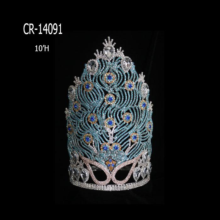 Custom Beauty Big Peaccock Rhinestone Pageant Crowns
