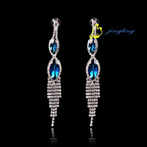 Water droplets crystal long earrings Wedding dinner crystal earrings