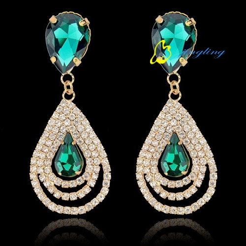 Rhinestone Earrings Fashion Womens Jewelry Luxurious Design Silver And Golden