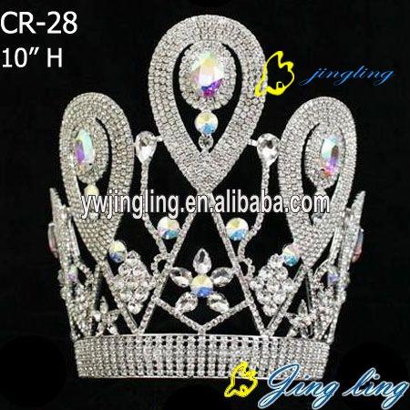 latest big stone tiara rhinestone pageant crown