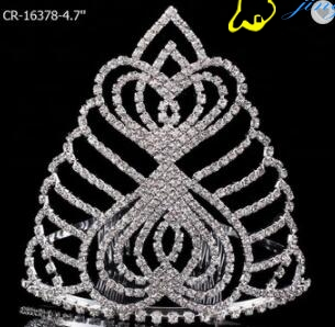 Tall Heart Miss Beauty Pageant Crown Combs