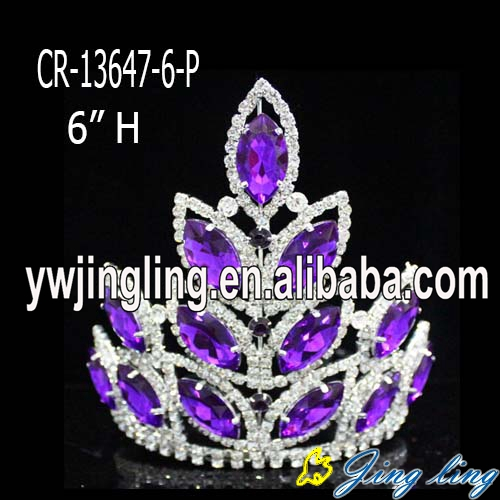 Purple rhinestone  pageant crown for sale