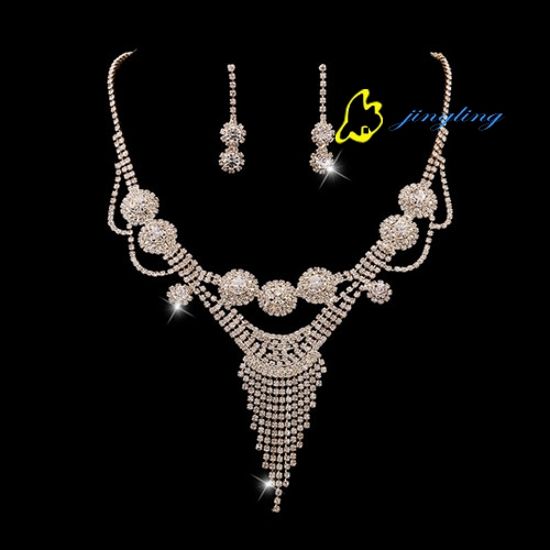 JingLing Women Jewelry Sets Lady Summer Necklace Rhinestone And Copper Materials Fashion Jewelry Kit