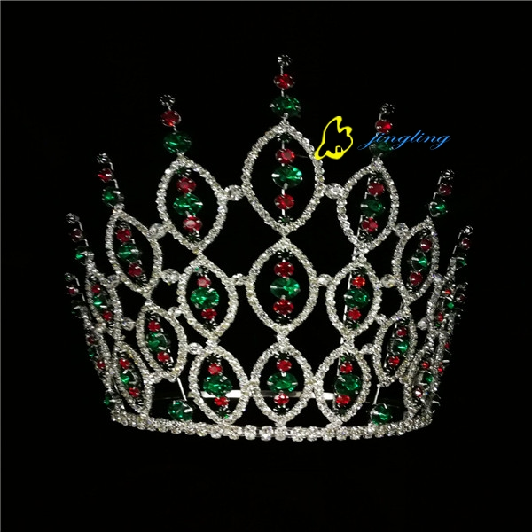 8 Inch Red Green Rhinestone Pageant Bridal Round Tiara Crown