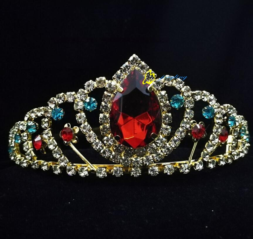 Big Red Stone Birthday Crown Tiaras For Children