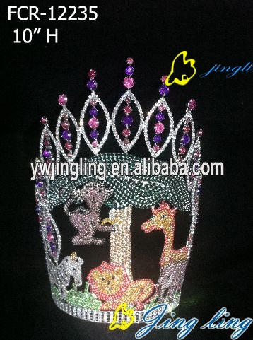 christmas animal rhinestone and crystal full round pageant crowns