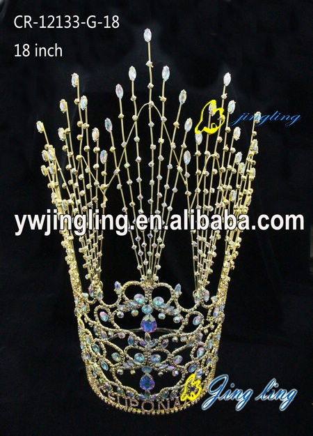 Bridal Hair Ornaments Sweetv Royal Wedding Crown Gold Plated Round Tiara For Girls