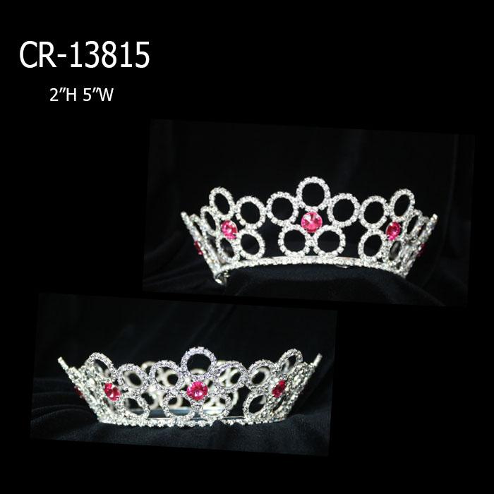 Wholesale Pink Flower Full Round Crown