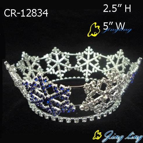 full round king snowflake tiara for Christmas pageant holiday crown