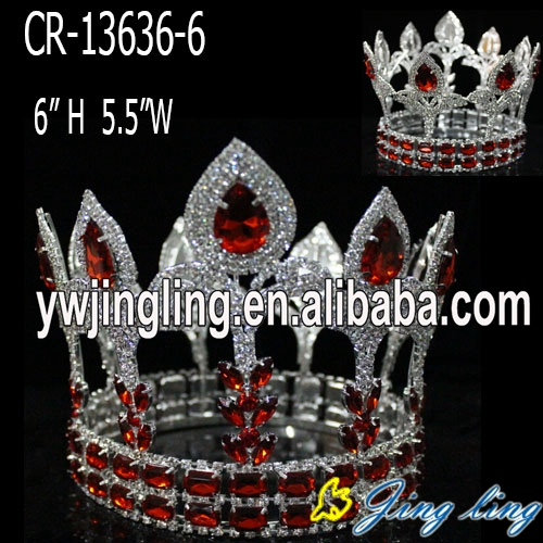 Red rhinstone flower-de-luce full round king  crown for sale