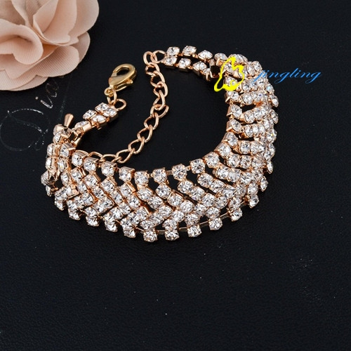 Luxury Wedding Jewelry Bracelets Bangles Silver Plated Chain Shiny Austrian Crystal Brcelet