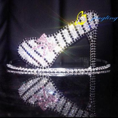 lady high-heeled shoes design pink tiara