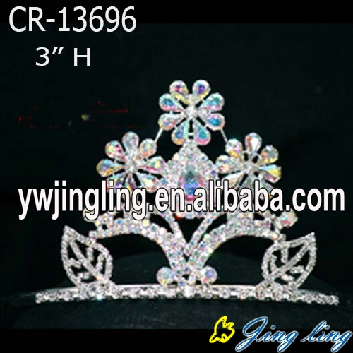 Flower AB stone pageant tiaras and crowns