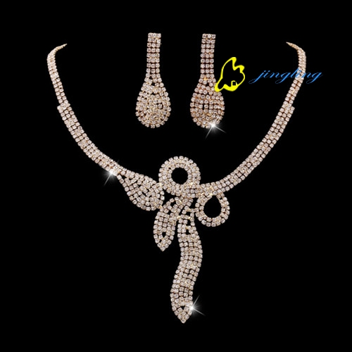 Tissany Shining Lady Jewelry Kits Fashion Women Necklace Rhinestone And Copper Materials Discounted