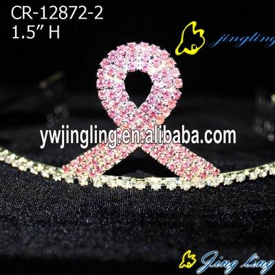 pink crystal charm ribbon crown