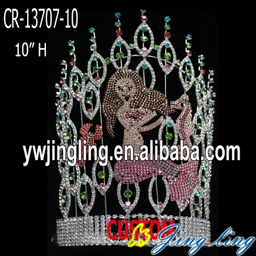 Colored rhinestone mermaid pageant crown