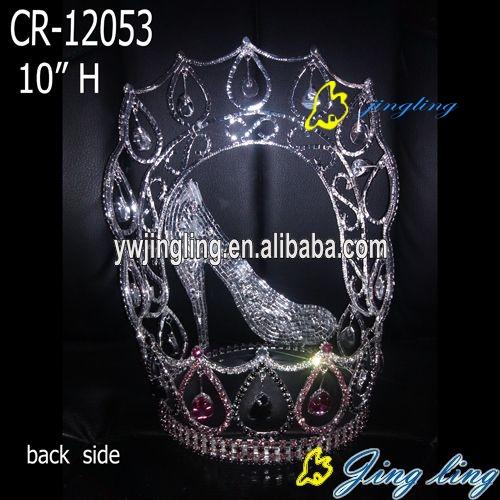 crown white stone high heels shape