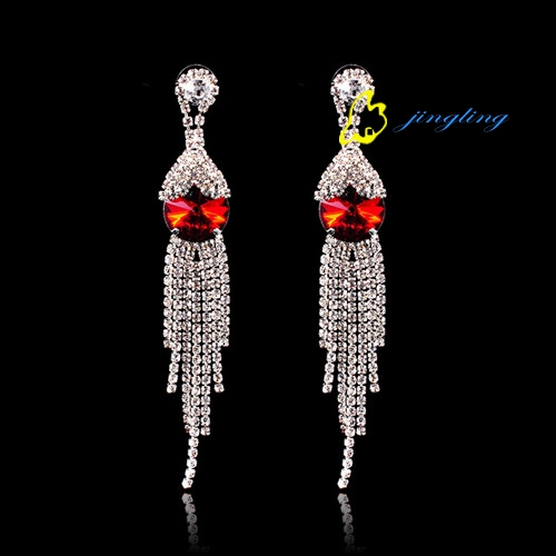 Drop Earrings Dangle Earring Rhinestone And Copper Materials Cubic Zirconia With Red Rhines