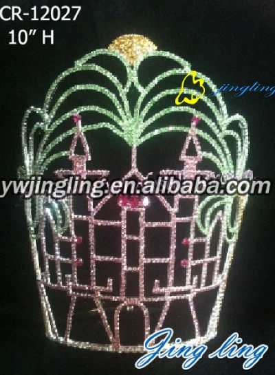 large colorful rhinestone christmas pageant crown