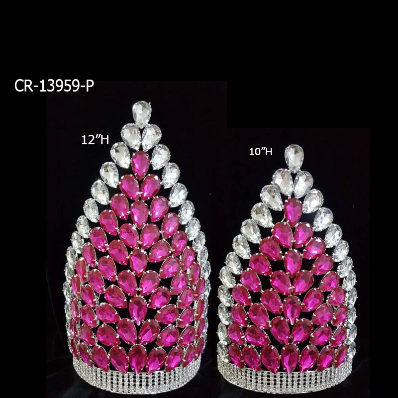 12 Inch Cheap Pink Big Pageant Crowns