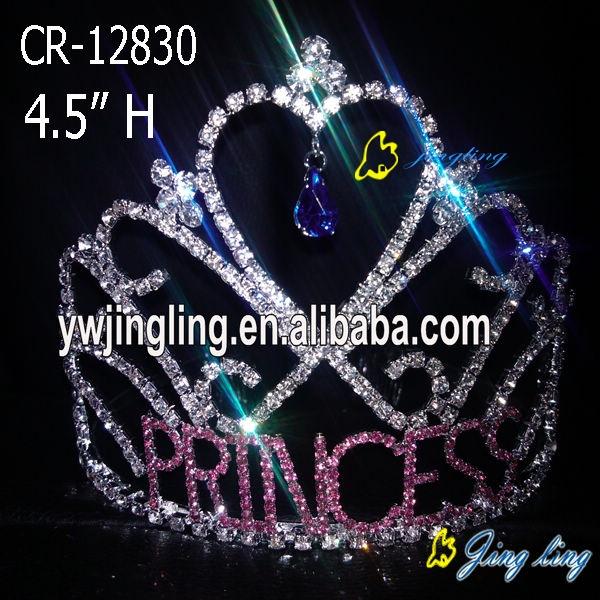 princess sweet heart rhinestone tiara valentine's day crown