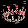 Luxury Gold Plated Royal Red Rhinestones Crystal Crown Bridal Tiaras For Queen Round Crowns