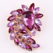 Amazing hot pink crystal Women Rhinestone And Big Acrylic Gold Brooch