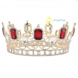 Big Red Rhinestones Bridal Tiara Queen Crown For Wedding