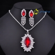 Beautiful Ruby Sliver Tone Charm Rhinestone Jewelry Set