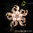 pearl brooch clear rhinestones gold and silver plated brooch pins