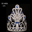 "10"" Wholesale cheap big sapphire rhinestone pageant crown for sale"