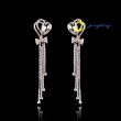 Fashion New Luxuriant heart-shaped crystal long earrings Manual rhinestone earrings
