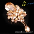Top quality Large gold rhinestone Crystal Water Drop Sparkly Bridal Wedding Pin Brooch