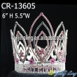 Pink rhinestone flower full round pageant crown