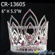 Pink rhinestone flower full round pageant crown
