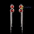 Fashion Rhinestone Tassel Long Earrings