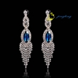 2015 Hot Sale Rhinestone Earrings Fashion Earrings Blue Rhinestone In Middle Womens Jewelry Rhinesto
