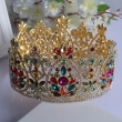 2016 New arrival silver and gold full round beauty queen crown