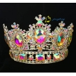 Full AB Stone Round Rhinestone Stone Hair Tiara Crown For Queen