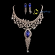 Women Necklace And Earring Fashion Jewelry Sets Rhinestone And Copper Materials Shining Lady Necklac