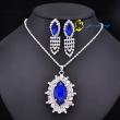 Beautiful Ruby Sliver Tone Charm Rhinestone Jewelry Set